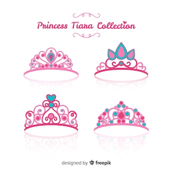 Flat pink princess tiara collection