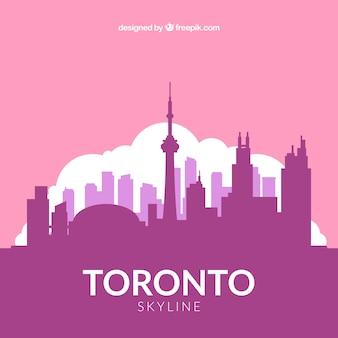 Flat pink skyline of toronto