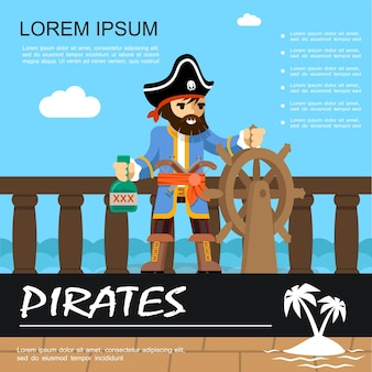 Flat pirate adventure colorful with pirate holding ship helm and bottle of rum  illustration