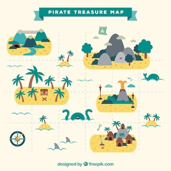 Flat pirate treasure map with decorative palm trees