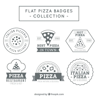 Flat pizza badges collection
