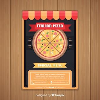 Flat pizza brochure template