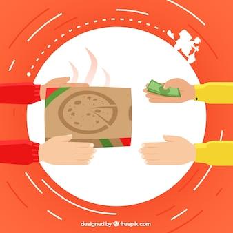Concetto di consegna pizza piatta