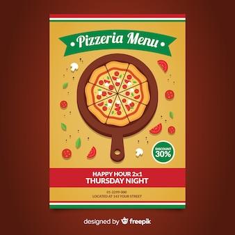 Flat pizza flyer template