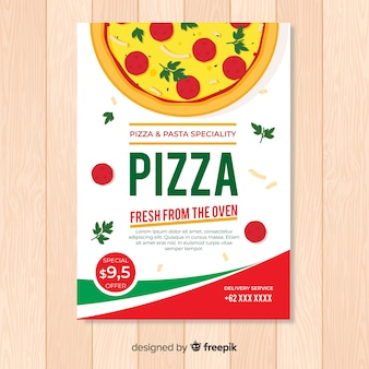 Flat pizza flyer template