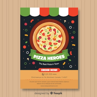 Flat pizza poster template