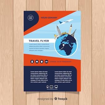 Flat plane around the globe travel flyer