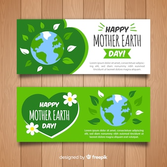 Flat planet mother earth day banner