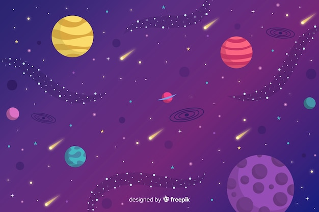 Flat planets and asteroids background