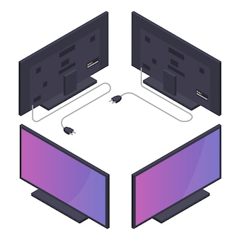 Flat or plasma tv with power cord. isometric illustration.