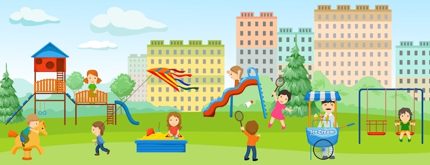Banner colorato parco giochi piatto con gioco di intrattenimento per bambini e posto verde intorno