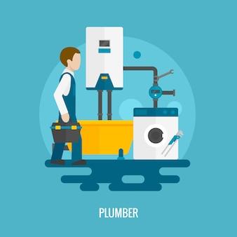 Flat plumber icon