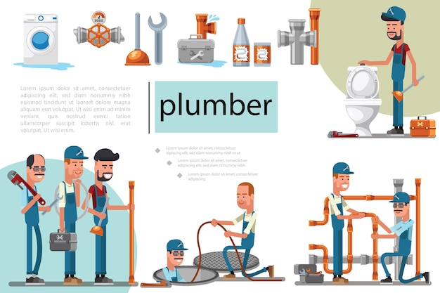 Flat plumbing service composition