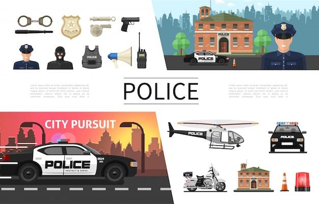 Концепция плоских полицейских элементов с полицейским, криминальным шерифом, значок, пистолет, шлем, громкоговоритель, наручники, вертолет, автомобиль, мотоцикл, сирена, радиостанция