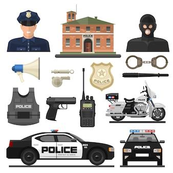 Плоский полицейский набор иконок