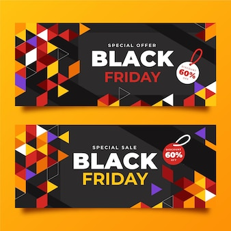 Flat polygonal black friday horizontal banners set
