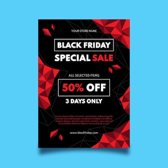 Flat polygonal black friday vertical poster template