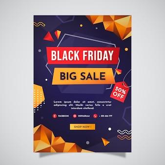 Modello di poster verticale venerdì nero poligonale piatto