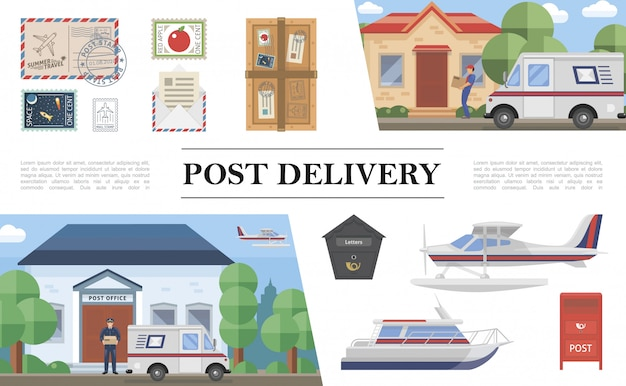 Flat post service composition with van float plane yacht postman stamps parcel envelope letter postbox post office courier delivering package to client