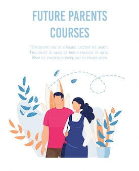 Flat poster advertising future parents courses