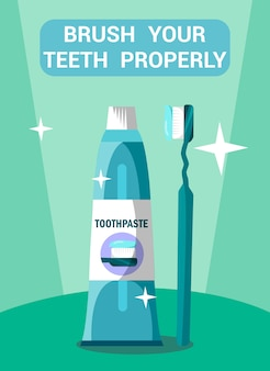 Стоматологическая помощь flat poster concept