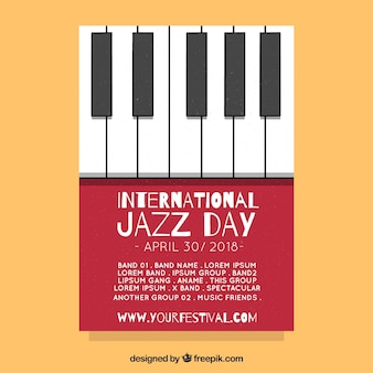 Flat poster for international jazz day