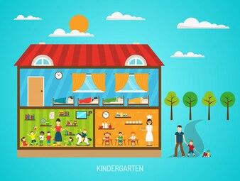 様々なステップを示す部屋のシーンで幼稚園の建物のフラットポスター