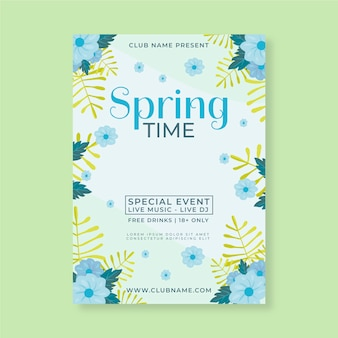Flat poster for spring party template