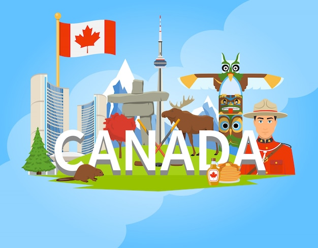Канадские национальные символы композиция flat poster