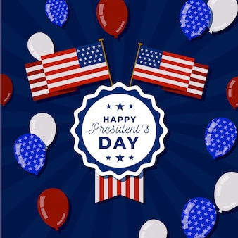Плоский президентский день американских цветов и воздушных шаров