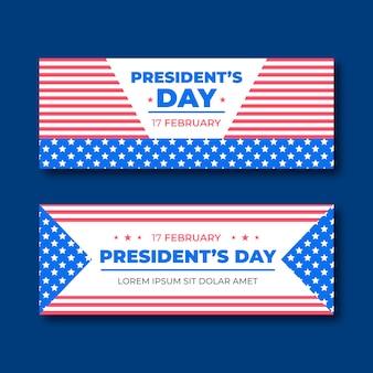 Flat president's day banner.