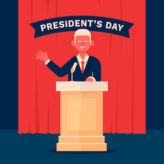 Flat president's day illustration