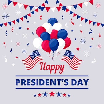 Flat president's day with garlands and balloons