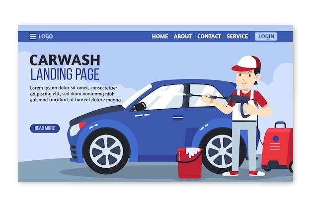 Modello di pagina di destinazione del lavaggio a pressione piatta