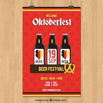 Flat pretzel and beer bottles