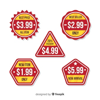 Flat price list badge collection