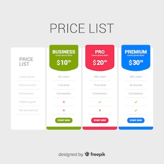 Flat price list collection