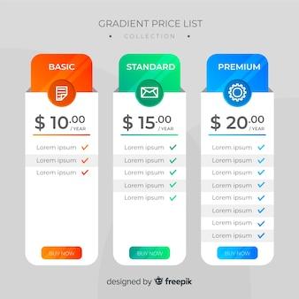 Flat price list set