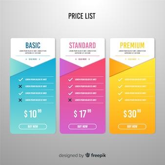 Flat price list