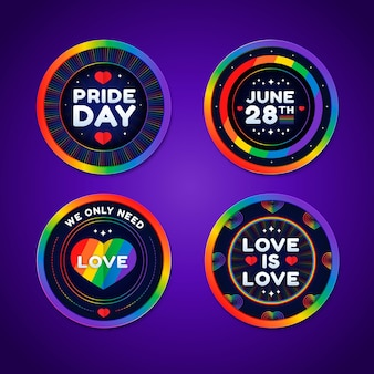 Flat pride day badge collection