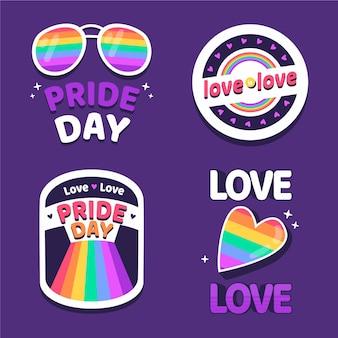 Плоская коллекция значков дня гордости