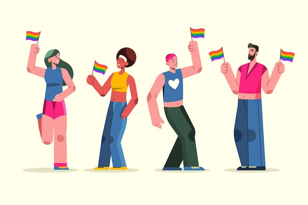 Flat pride day couple collection illustration