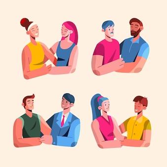 Плоская иллюстрация коллекции пара дня гордости