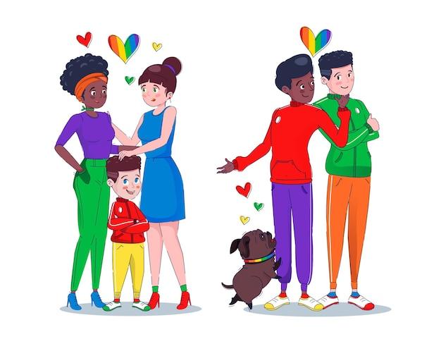 Плоская семейная коллекция на день гордости