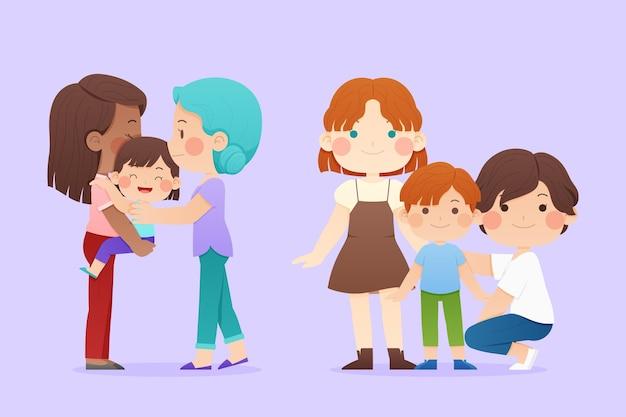 Collezione famiglia flat pride day