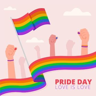 Flat pride day flag illustration