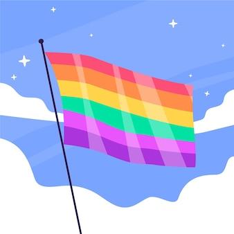 Плоская иллюстрация флага дня гордости