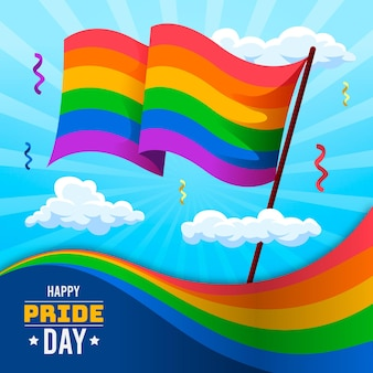 Flat pride day flag illustration
