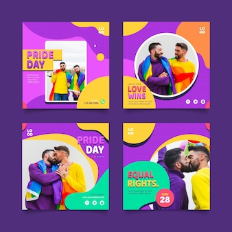 Flat pride day instagram posts collection