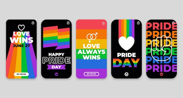Flat pride day instagram stories collection